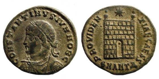 Ancient Coins - Constantine II 337-340. AE 20mm (2.80 gm). Antioch 325-326. RIC 73