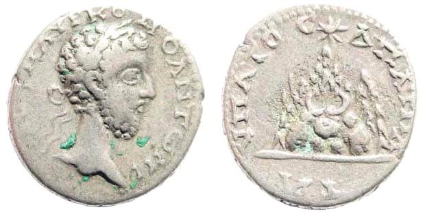 Ancient Coins - Cappadocia, Caesarea. Commodus, 177-192 AD. AR Didrachm (3.99 gm). Sydenham 372b