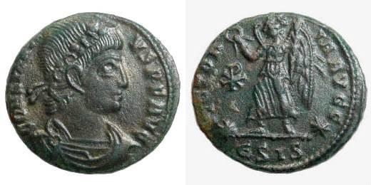 Ancient Coins - Constantius II 337 – 361 AD. AE 16mm (1.75 gm). Siscia 347 AD. RIC 176