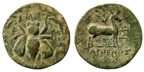 Ancient Coins - Ionia, Ephesos. Circa 202-133 BC. AE 18mm (4.11 gm). SNG Copenhagen 303