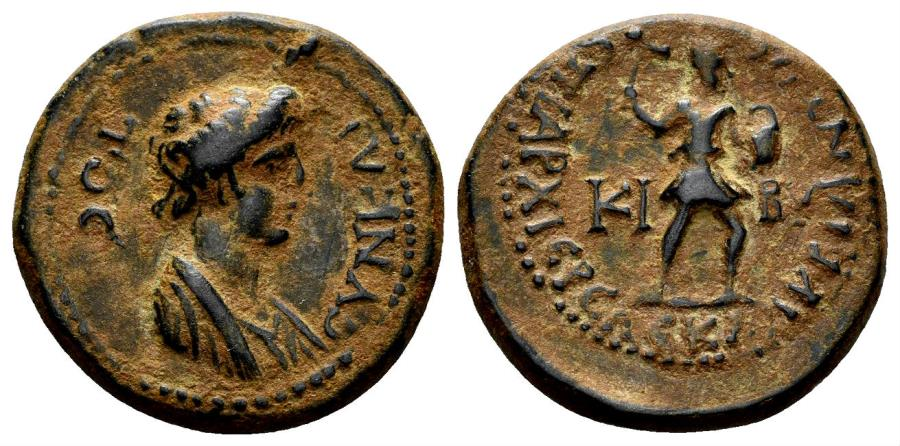 Ancient Coins - Phrygia. Kibyra. Time of Domitian. 81-96 AD. AE 19mm (4.96 gm). Klaudios Bias, archiereos. RPC II 1266. Rare