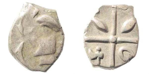 Ancient Coins - Southwestern France. Tolosates, Volcae Tectosages, Monnaies à la croix. Later 2nd century BC. AR Drachm (2.76 gm, 15mm). Savès 15