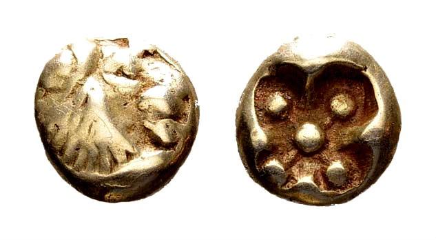 Ancient Coins - Ionia, Miletos. Circa 600-550 BC. EL 1/12 Stater - Hemihekte (1.15 gm, 7mm). SNG Kayhan 444-8; Rosen Collection 40