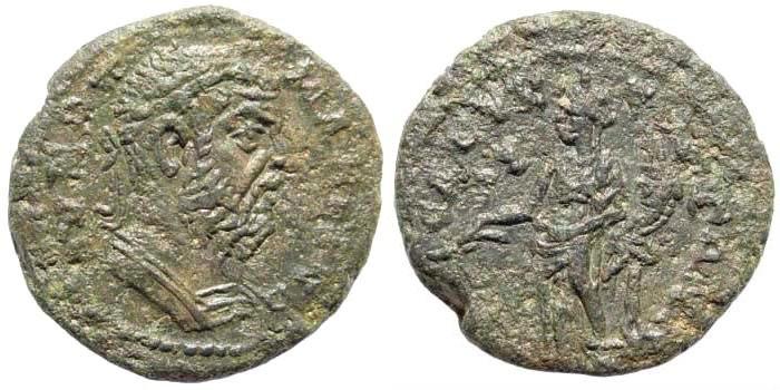 Ancient Coins - Cilicia, Seleucia ad Calycadnum. Macrinus. 218-222 AD. AE 21mm (6.77 gm). SNG Levante Supplement 194 (same dies); Ziegler, Sammlungen, 449 (same dies); SNG von Aulock 5835 (same di