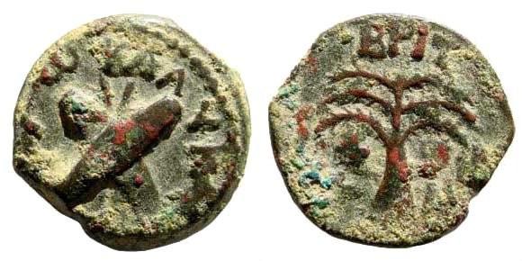Ancient Coins - Judaea, Roman Procurators. Antonius Felix. 52-59 AD. AE Prutah (2.88 gm, 16mm). Year 14, 54 AD. Hendin 652
