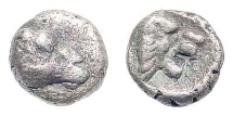 Ancient Coins - Karia, uncertain mint. Circa 420-380 BC. AR (Persic) Tetartemorion (0.22 gm, 5.5mm). SNG Helsinki I, 904