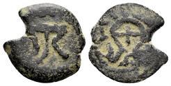 Ancient Coins - Judaea, Herodians. Herod I the Great. 40-4 BC. AE Prutah (1.32 gm, 15mm). Jerusalem mint. Hendin 1180