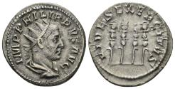 Ancient Coins - Philip I. 244-249 AD. AR Antoninianus (4.04 gm, 22mm). Rome mint. Struck 247-249 AD. RIC IV 62; RSC 50