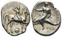 Ancient Coins - Calabria, Tarentum. Circa 302 BC. AR Nomos (7.79 gm, 23mm). Vlasto 654; SNG ANS 1025
