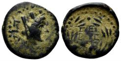 Ancient Coins - Phoenicia, Byblus. Augustus or Nero (27 BC-AD 14 or AD 54-68). AE 18mm (4.14 gm). Dated RY 14 of Augustus (18/7 BC) or Nero (67/8 AD). RPC I 4525. Rare