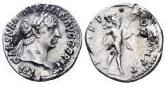Ancient Coins - Trajan. 98-117 AD. AR Denarius (3.29 gm, 18.5mm). Rome mint. Struck 101-102 AD. RIC II 52