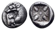 Ancient Coins - Ionia, Miletos. Late 6th-early 5th century BC. AR Diobol (1.17 gm, 9mm). SNG Kayhan 476-82; SNG Keckman 273
