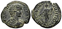 Ancient Coins - Phrygia, Peltai. Geta, as Caesar, 198-209 AD. AE 23mm (5.90 gm). Magistrate Metrobios (Strategos). SNG Copenhagen 642