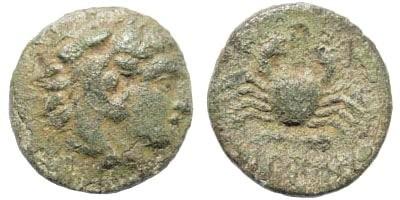 Ancient Coins - Karia, Island Kos. Circa 166-88 BC. (0.88 gm, 12mm). BMC 87