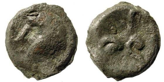 Ancient Coins - Gallia Belgica, Suessiones. Cast Potin (4.61 gm, 19mm). Circa. 100-60 BC. Cf. Scheers 718. Rare type