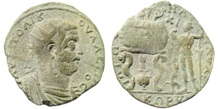Ancient Coins - Kilikia, Korykos. Valerian, 253-260 AD. AE 32mm (12.47 gm). SNG Levante 819; SNG France 1123 . Themian games issue
