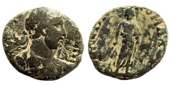 Ancient Coins - Troas, Pionia. Hadrian. 117-138 AD. AE 18mm (2.55 gm). Nikomachos. Unpublished (?) Rare mint and countermark
