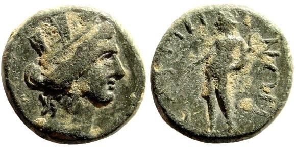 Ancient Coins - Lydia, Saitta. Late 2nd – early 3rd century AD. AE 16mm (4.06 gm). BMC 21