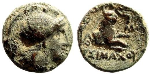 Ancient Coins - Thracian Kings, Lysimachos. 305-281 BC. AE 14mm (2.49 gm). Cf. SNG Copenhagen 1159