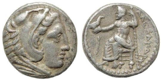 Ancient Coins - Macedonian Kingdom, Alexander III, 336-323 BC, AR Drachm (4.23 gm, 16mm). Macedonian mint, 336-323 BC. Price 5