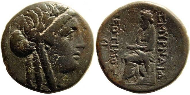 Ancient Coins - Ionia, Smyrna. Circa 145-125 B.C. AE 22mm/ Homereion (6.90 gm). Theotimos, Magistrate. Milne 173