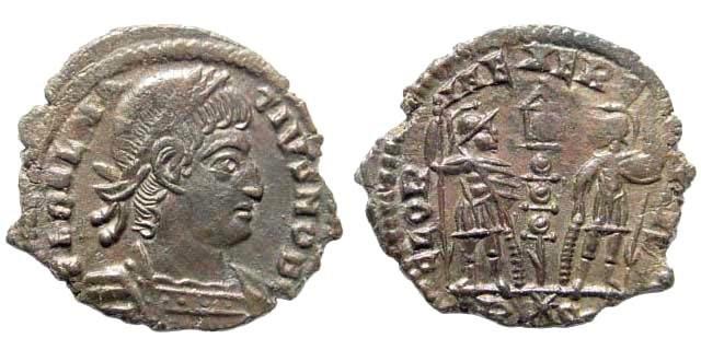 Ancient Coins - Delmatius, 335 - 337 AD. AE Follis (1.50 gm, 17mm). Rome mint, 336-337 AD. RIC VII 395