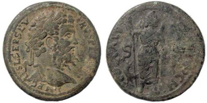 Ancient Coins - Pisidia, Antioch. Septimius Severus, 193-211 AD. AE 35 mm (25.54 gm). SNG BN Paris 1101