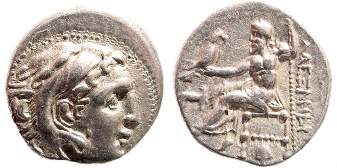 Ancient Coins - Macedonian Kings. Alexander III the Great. 336-323 BC. AR Drachm (4.1 gm, 18mm). Abydos (?) mint. Struck circa 310 - 301 BC. Price 1554; Müller 327