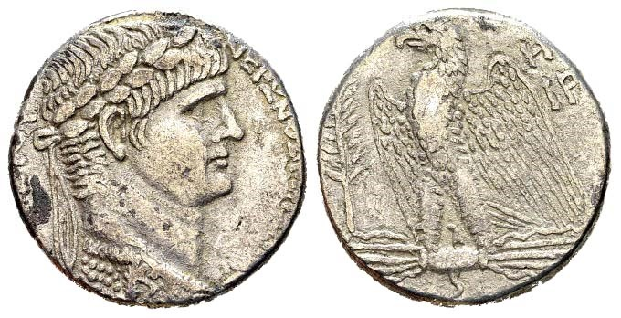 Ancient Coins - Syria, Seleucis and Pieria. Antioch. Nero. Regnal Year 8 (61/62 AD). AR Tetradrachm (13.95 gm, 24mm). RPC I 4182