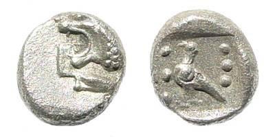 Ancient Coins - Ionia, Miletus. 5th century BC. AR 1/48 Stater (0.20 gm, 6mm). Klein, Sammlung von Griechischen Kleinsilbermünzen und Bronzen, 432. SNG Helsinki I, 925
