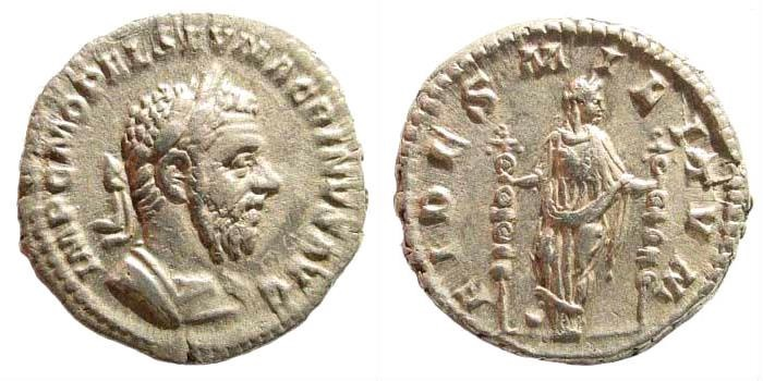 Ancient Coins - Macrinus, 217-218 AD. AR Denarius (3.41 gm, 20mm). Rome mint, July 217-March 218. RIC 67