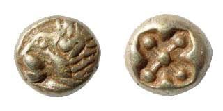 Ancient Coins - Ionia, Miletos. Circa 600-550 BC. EL Twelfth Stater/ Hemihekte (1.18 gm). SNG Kayhan 449. Scarcer left facing
