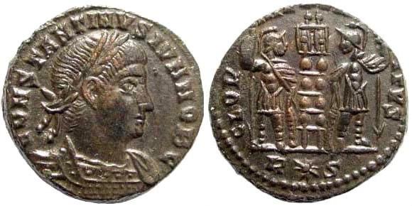 Ancient Coins - Constantine II, as Caesar, 317-337 AD. AE Follis (2.75 gm, 17mm). Rome mint, 335-336 AD. RIC VII 364