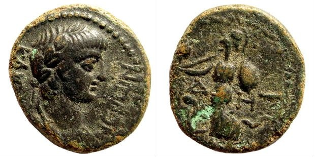 Ancient Coins - Pamphylia, Side. Nero, 54-68 AD. AE 18mm (4.13 gm.) ca. 55 AD. RPC I, 3401
