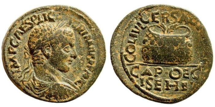 Ancient Coins - Syria, Coele-Syria. Heliopolis. Valerian I, 253-260 AD. AE 28mm (12.25 gm). SNG Copenhagen 439; Lindgren-Kovacs 2170