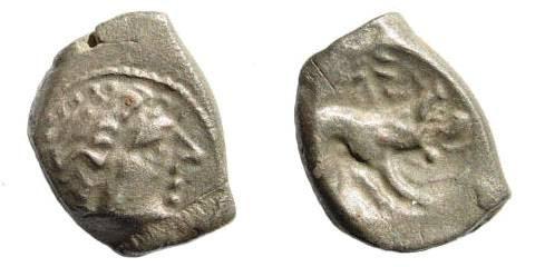 Ancient Coins - Italia, Gallia Cisalpina. Cenomani. Circa 150-100 BC. AR Drachm (2.96 gm, 16mm). Castelin 1051