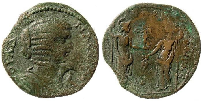 Ancient Coins - Pontus, Amisus. Julia Domna, wife of Septimius Severus. Augusta, 193-217 AD. AE 31mm (13.02 gm). Howgego 299