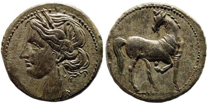 Ancient Coins - Zeugitania, Carthage. Circa 221-201 BC. BI Tridrachm (10.09 gm, 26 mm). Second Punic War issue, struck circa 208-202 BC. SNG Copenhagen 395