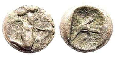 Ancient Coins - Achaemenid Empire. Time of Dareios I. Circa 510-486 BC. AR (0.18 gm, 5mm). Carradice Type 2. Klein 760