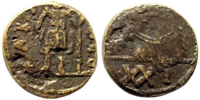 Ancient Coins - Vandals. Gelimer. 530-534 AD. AE Follis of 42 Nummi (6.5 gm, 22mm). Carthage mint. MIB I 22; MEC 1, 43; BMC Vandals pg. 3, 10