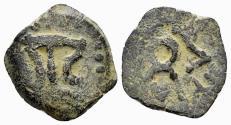 Ancient Coins - Judaea, Herodians. Herod I the Great. 40-4 BC. AE Prutah (1.30 gm, 16mm). Jerusalem mint. Hendin 1182