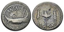 Ancient Coins - Mark Antony, 32-31 BC. AR Legionary Denarius (3.47 gm, 18mm). Patrae (?) mint. Crawford 544/36. LEG XX