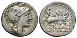 Ancient Coins - Appius Claudius Pulcher, T. Manlius Mancius, and Q. Urbinius. 111-110 BC. AR Denarius (3.86 gm, 17.5mm). Rome mint. Crawford 299/1b