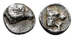Ancient Coins - Karia, Uncertain. 4th century BC. AR Tetartemorion (0.27 gm, 6mm). SNG Keckman 903