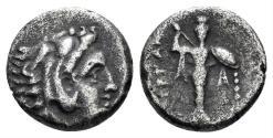 Ancient Coins - Mysia, Pergamon. Early third century BC. AR Diobol (1.23 gm, 10.5mm). SNG Kayan 64