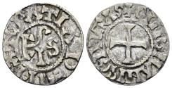 World Coins - France, Provincial. Maine (comté). Hugues II. Circa 939/955-991. AR Denier (1.26 gm, 21mm). Immobilized type of Charles le Simple (the Simple), Legros 553