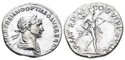 Ancient Coins - Trajan. 98-117 AD. AR Denarius (3.05 gm, 19.5mm). Rome mint. Struck 114-117 AD. RIC II 337