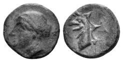 Ancient Coins - Ionia, Phokaia. Circa 387-326 BC. AE 10mm (0.72 gm). SNG Copenhagen 1033