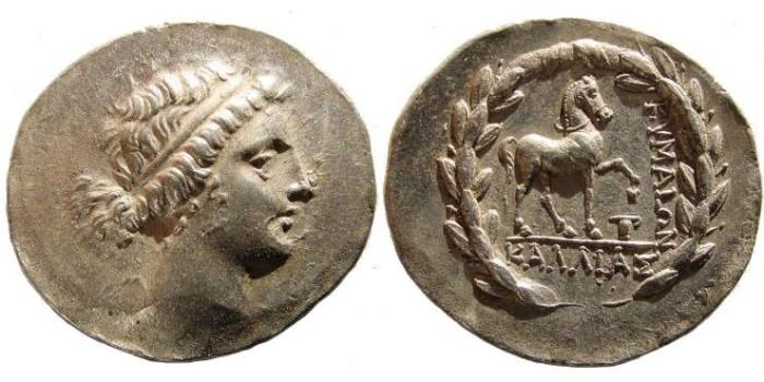 Ancient Coins - Aeolis, Kyme. Circa 165-140 BC. AR Tetradrachm (16.52 gm, 12h, 33 mm). SNG Copenhagen 103