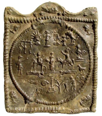 Ancient Coins - Mystery Plaque, in Lead, from the Lower Danubian Area, or Thrace. Ca. 300 AD